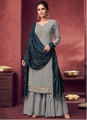 Faux Georgette Embroidered Designer Palazzo Suit in Grey