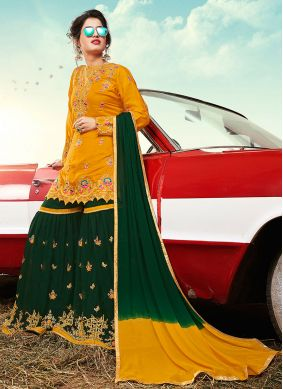Faux Georgette Embroidered Designer Palazzo Suit in Yellow