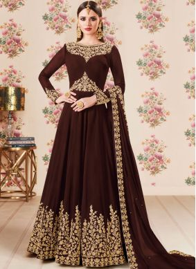 Faux Georgette Embroidered Floor Length Anarkali Suit in Brown