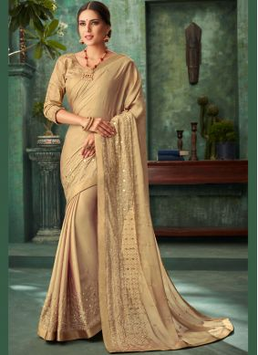 Faux Georgette Embroidered Gold Designer Traditional Saree