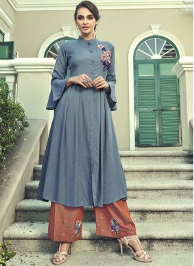 Faux Georgette Embroidered Grey Palazzo Salwar Suit