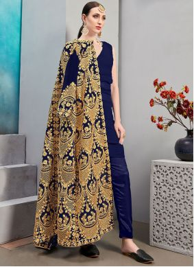Faux Georgette Embroidered Jacket Style Suit