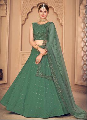 Faux Georgette Embroidered Lehenga Choli in Green