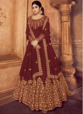 Faux Georgette Embroidered Maroon Anarkali Salwar Suit
