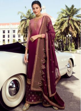 Faux Georgette Embroidered Maroon and Peach Trendy Palazzo Salwar Kameez