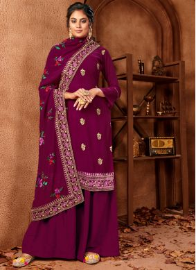 Faux Georgette Embroidered Maroon Trendy Salwar Suit