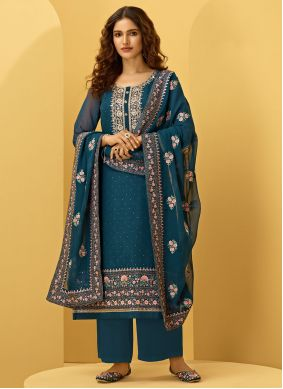 Faux Georgette Embroidered Morpeach  Designer Palazzo Salwar Suit