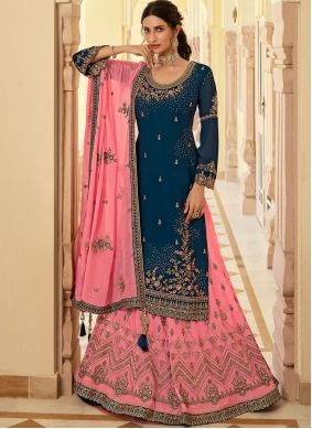 Faux Georgette Embroidered Navy Blue Long Choli Lehenga