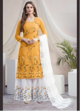 Faux Georgette Embroidered Off White and Yellow Designer Palazzo Suit