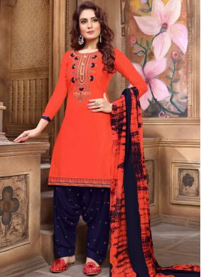 Faux Georgette Embroidered Orange Designer Patiala Suit