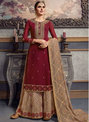 Faux Georgette Embroidered Palazzo Salwar Suit