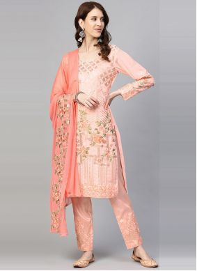 Faux Georgette Embroidered Pant Style Suit
