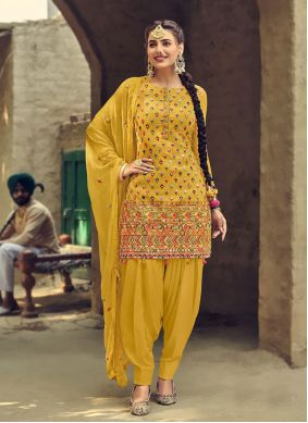 Faux Georgette Embroidered Patiala Suit in Yellow