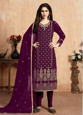 Faux Georgette Embroidered Purple Pant Style Suit