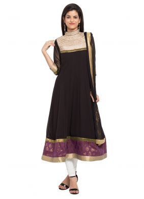 Faux Georgette Embroidered Readymade Anarkali Salwar Suit
