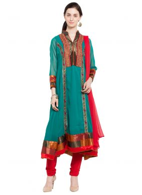 Faux Georgette Embroidered Readymade Anarkali Salwar Suit in Sea Green