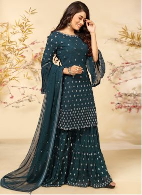 Teal Faux Georgette Embroidered Readymade Suit