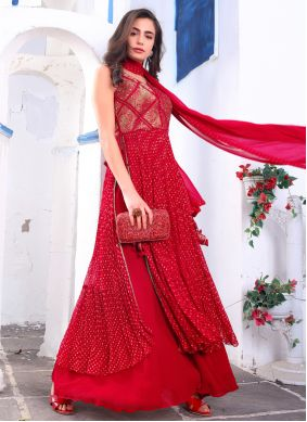 Faux Georgette Embroidered Readymade Suit in Red
