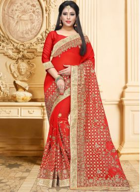 Faux Georgette Embroidered Red Classic Designer Saree