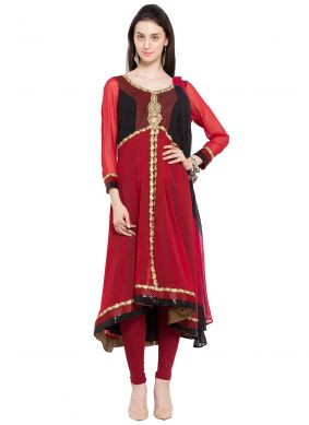 Faux Georgette Embroidered Red Readymade Anarkali Salwar Suit