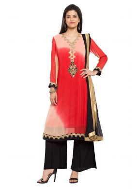 Faux Georgette Embroidered Red Readymade Salwar Kameez