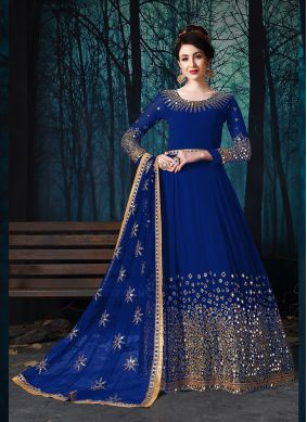 Faux Georgette Embroidered Trendy Anarkali Suit in Blue