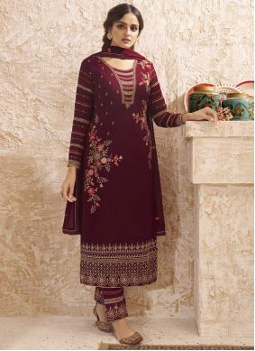 Faux Georgette Embroidered Wine Pant Style Suit