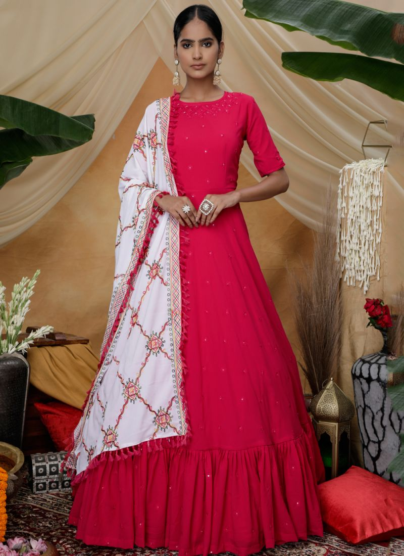Faux Georgette Floor Length Gown in Red