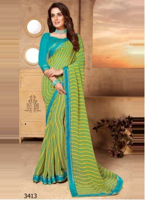 Faux Georgette Green Abstract Print Classic Saree