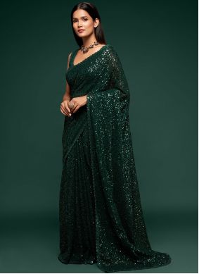 Faux Georgette Green Classic Designer Saree