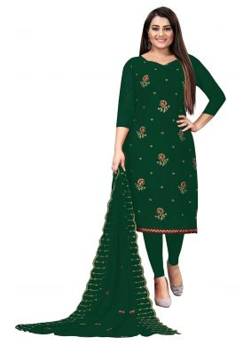 Faux Georgette Green Embroidered Churidar Suit