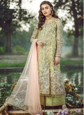 Faux Georgette Green Embroidered Pakistani Salwar Suit
