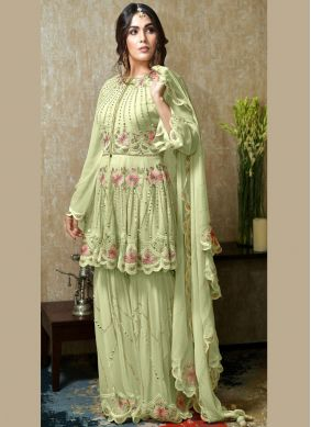 Faux Georgette Green Embroidered Salwar Kameez