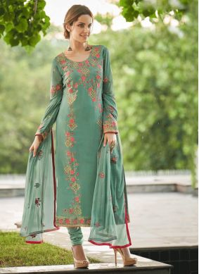 Faux Georgette Green Embroidered Salwar Suit