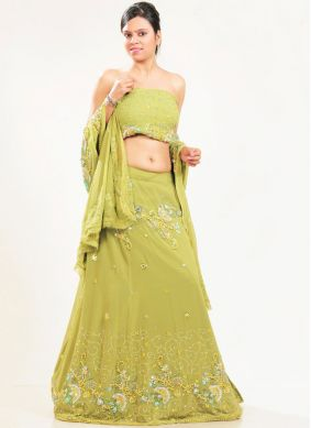 Faux Georgette Green Fancy Lehenga Choli