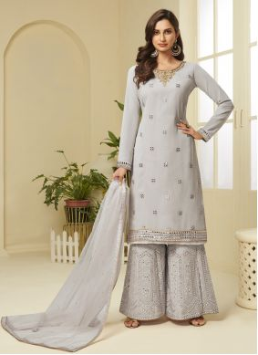 Faux Georgette Grey Embroidered Designer Palazzo Suit