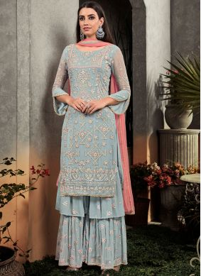 Faux Georgette Grey Embroidered Palazzo Designer Salwar Kameez