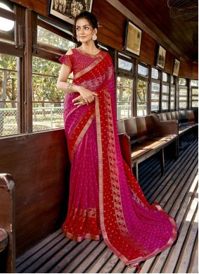 Faux Georgette Hot Pink and Red Abstract Print Printed Saree