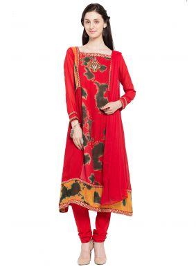 Faux Georgette Lace Readymade Anarkali Salwar Suit