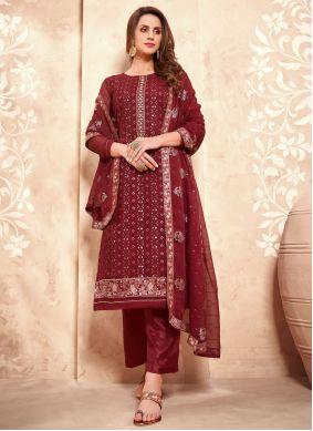 Faux Georgette Maroon Designer Pakistani Suit