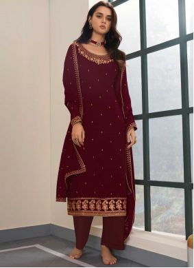 Faux Georgette Maroon Embroidered Designer Palazzo Salwar Suit