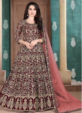 Faux Georgette Maroon Embroidered Salwar Suit