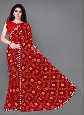 Faux Georgette Multi Colour Classic Saree