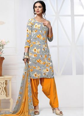 Faux Georgette Multi Colour Printed Patiala Salwar Kameez