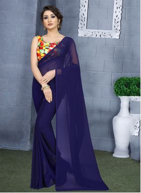 Faux Georgette Navy Blue Classic Saree