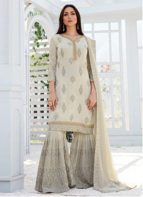 Faux Georgette Off White Embroidered Designer Palazzo Suit