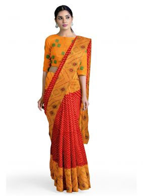 Faux Georgette Orange and Red Abstract Print Casual Saree