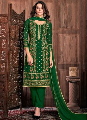 Faux Georgette Pant Style Suit in Green