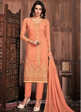 Faux Georgette Pant Style Suit in Peach