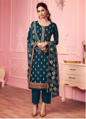 Faux Georgette Pant Style Suit in Teal